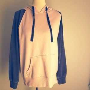 Tillys Pink & Gray Color Block Hoodie XL